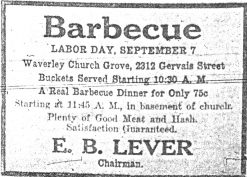 E. B. Lever sold barbecue every Labor Day in Columbia, South Carolina, in the 1920s