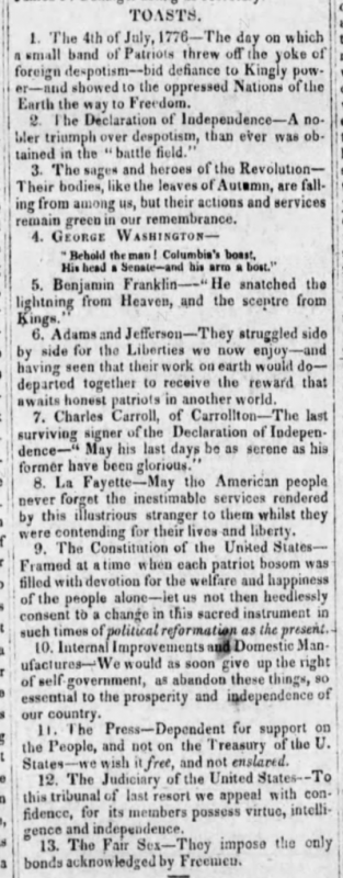 The Toasts from 1829 Fourth of July Barbecue, Barbourville, KY (Kentucky Reporter, July 22, 1829)