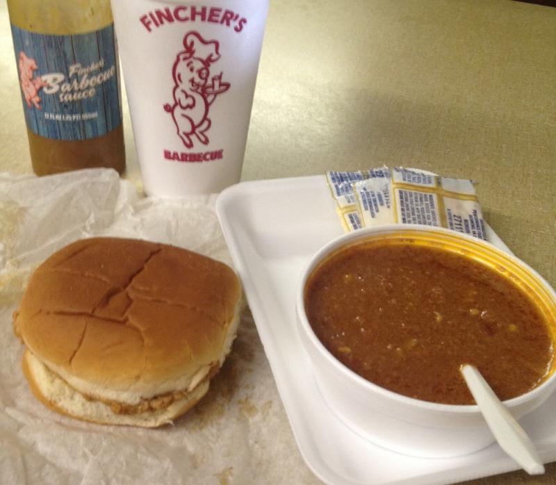 A barbecue sandwich and Brunswick stew at Fincher's in Macon, GA