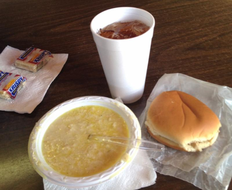A barbecue sandwich and chicken mull at Hot Thomas BBQ, Watkinsville, GA