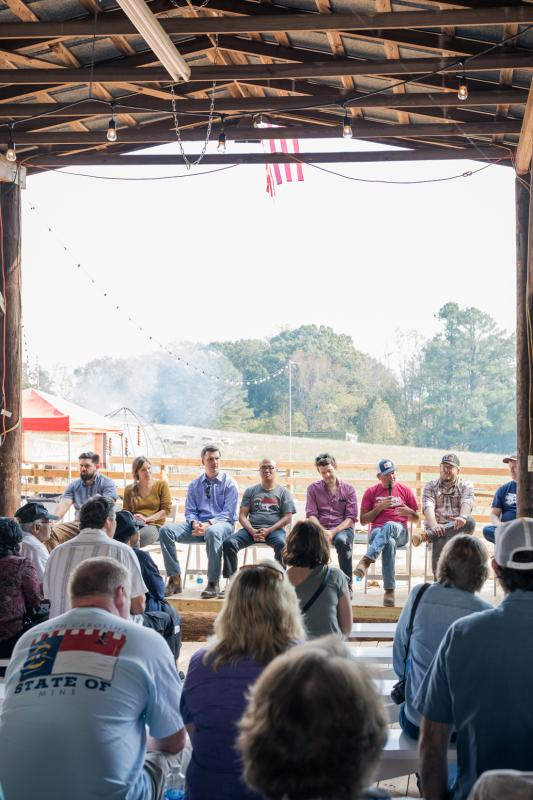 The panelists discuss barbecue past and future at the North Carolina BBQ Revival in Durham, November 2016