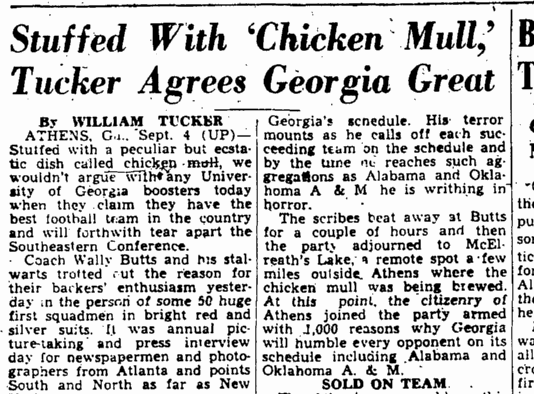 Wally Butts of the University of Georgia knew how to impress a bunch of sportswriters (Augusta Chronicle, September 5, 1946)